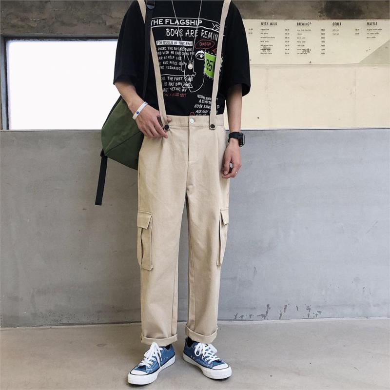 Männer Jeans 2021 Overalls Overall Suppsuits Hosenträger Big-Pocket Hip-Hop Loose Black Khaki Army Green Green Casual