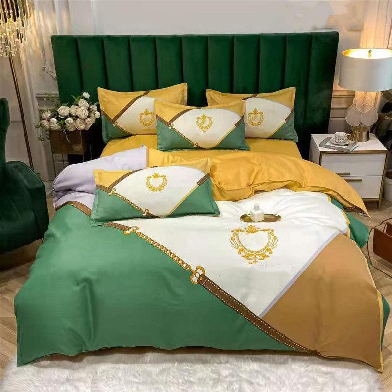 Diamond Grid Crosses Bedding Sets Simple Letter Print Duvet Cover Color Matching Fashion Bed Sheet Cover 4PCS Sets