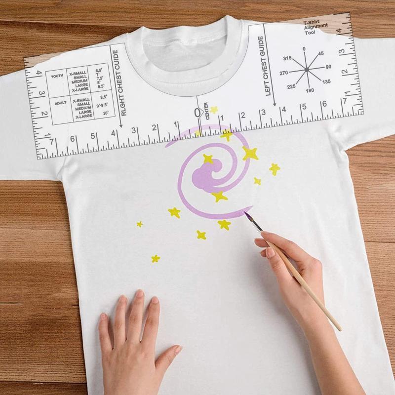 1045 T-shirt Collier Tool Alignement Guide de la règle T-shirt Guide Vinyle - Modèle de dessin de sublimation Modèle d'artisanat Set de couture Accesso
