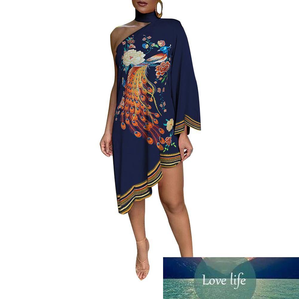 Plus size dress apparel Women Fashion Choker Peacock Print One Shoulder Irregular Ruffled Hem Dress