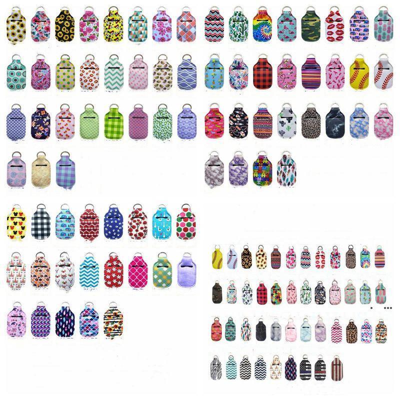 Hand Sanitizer Holder Neoprene Keychains Chapstick Holder Lipstick Holders Lip Cover Handbag Keychain Printing Chapstick Holder EWD5023