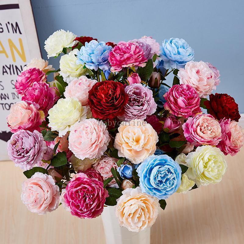 65cm 1 Blumenstrauß 3 Köpfe Künstliche Blumen Pfingstrose Rose Herbst Seide Gefälschte Blumen für DIY Wohnzimmer Haus Garten Hochzeitsdekorationen