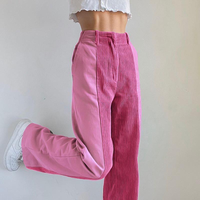 Kadın Pantolon Capris Kadife Giyim Sokak Kalın Kadife Dikiş Kontrast Renk Rahat Kadın Uzun Düz Moda Lady