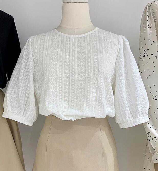 النساء بلوزة بيضاء أنثى قمم الشيفون قميص الصيف 2021 قصيرة الأكمام blusa الأنثوية الجوف كبار السيدات 74 المرأة البلوزات القمصان