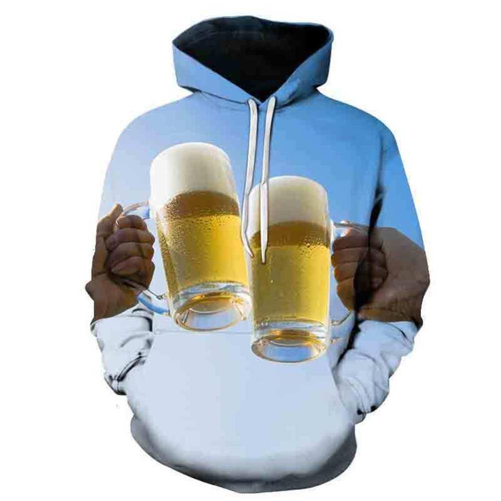 Sweats à capuche Automne et hiver Impression de bière 3D Mode Homme à capuche Mens Sport Vestes Sweats à capuche pour vêtements de sport