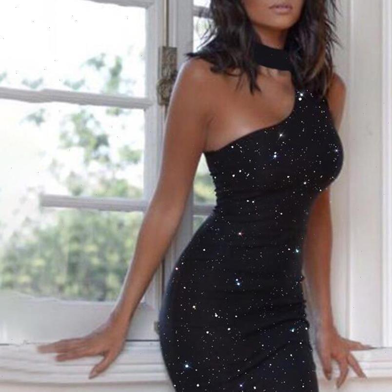 Womens Kleider Frau Kleid Sexy Backless Eine Schulter Schwarz Damen Pailletten Glitter Club Outfits Für Party Nacht plus Größe fest