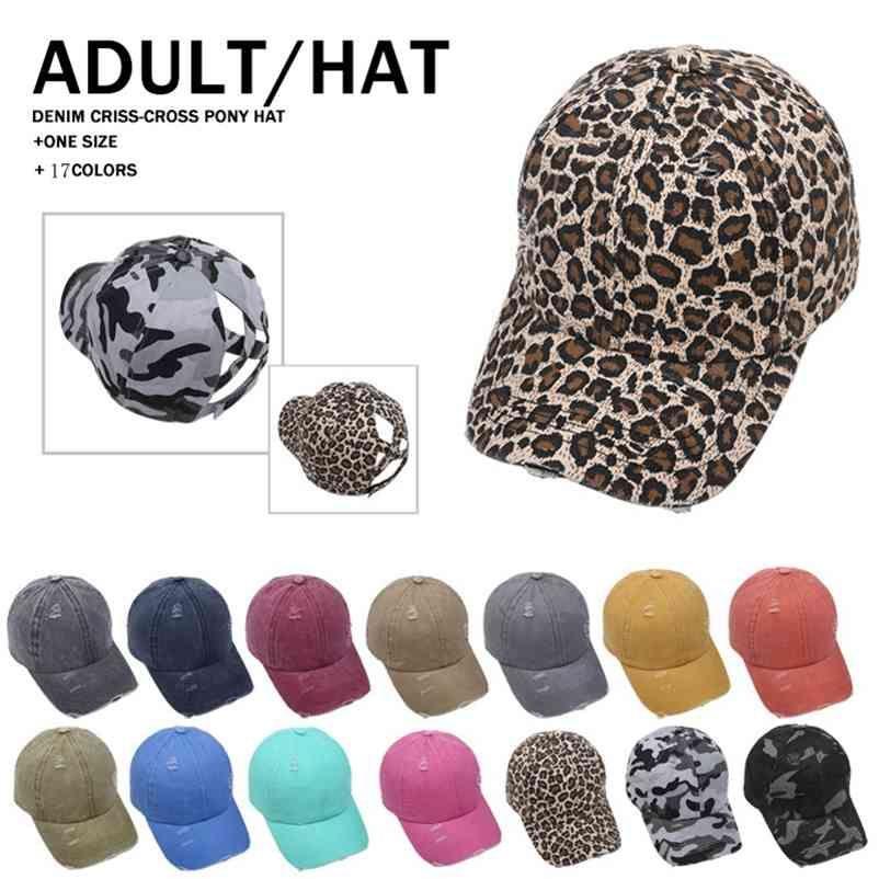 Leopard Meisai 동물 인쇄 포니 테일 야구 모자 크리스 크로스 워시 코튼 공 모자 패션 표범 높은 지저분한 모자 17 스타일 LLA449