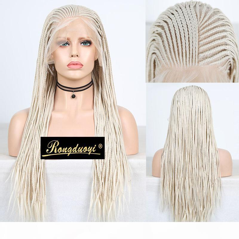 Rongduoyi Platinum blonde geflochtene Box Zöpfe Perücke lange 13x6 synthetische Spitze Frontperücken für Frauen Tiefe Teil Blonded Haar Spitze Perücke
