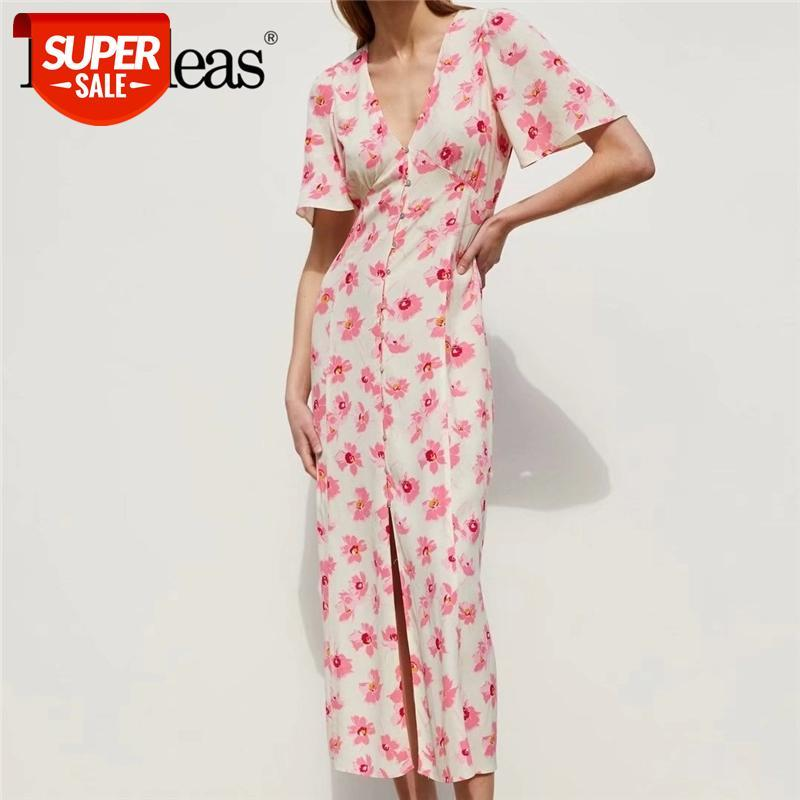 2021 Verano Vintage Rosa Impresión floral Mujeres Vestido de verano Botones Destacan largo Vestidos casuales Vestidos Drop Shipping # HG0Y