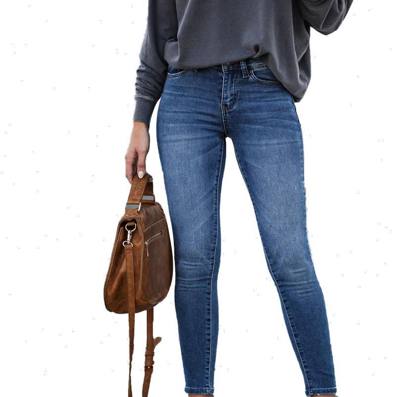 Women Jean Fashion Ladies Korean Stretch Jeans Solid Color Slim Fit Mid waist Casual Cropped Denim Trousers