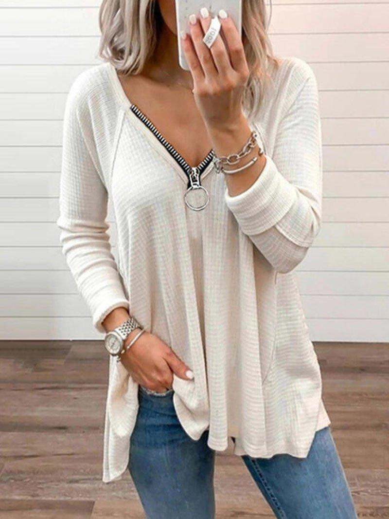 Women's T-Shirt Casual Woman Tshirts 2021 Long Sleeve Summer Tops For Women Solid T Shirt Zipper V Neck Spring Loose Ladies Top