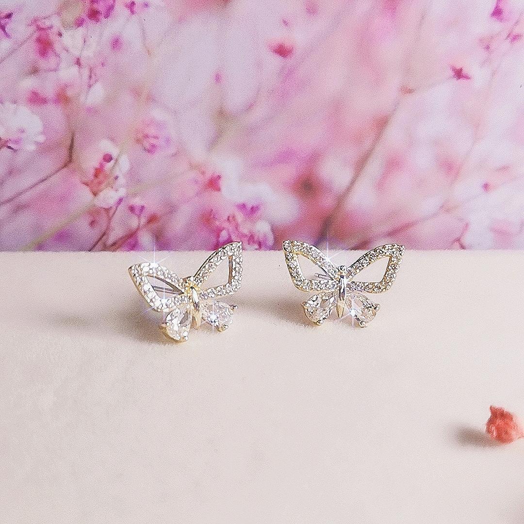 2021 C Butterfly Stud Pendientes Estética para Mujeres Moda Accesorios de estilo coreano Brincos Party Jewelry Regalo