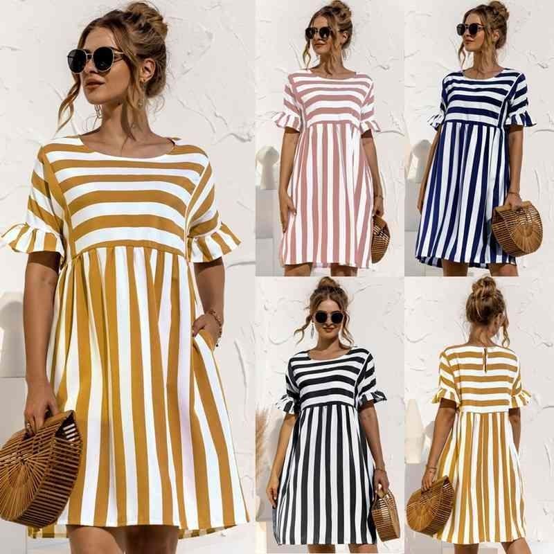 LEOSOXS verão nova moda o pescoço vestido feminino casual solo sólido manga curta plissada retalhos bolso senhoras vestido de listra 210329