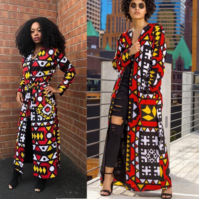 Moda casual estampado casaco longo (incluindo cinto) casacos de senhoras e jaquetas têm bolso africano de impressão cn (origem) mulheres