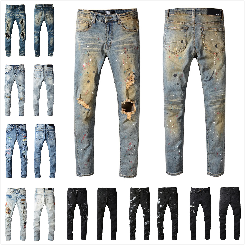 Erkek Tasarımcı Kot Pantolon Sıkıntılı Yırtık Biker Slim Fit Motosiklet Denim Erkekler için En Kaliteli Moda Jean Mans Pantolon