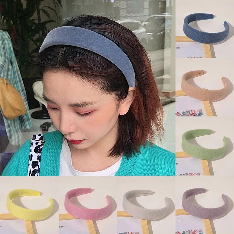 Bezel Hairbands Wide Hairbands Cabeça De Pelúcia Azul Furry Hair Band Candy Cor Headband Hairband Hairband Habitação Avague Maquiagem Acessórios De Cabelo
