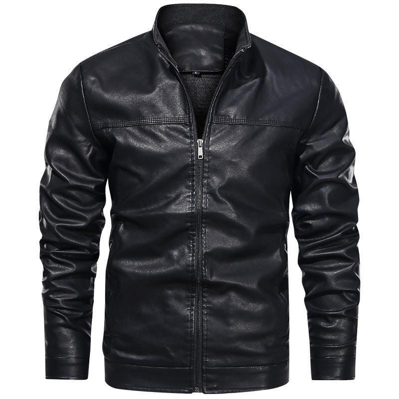 Jaquetas dos homens 2021 Primavera e Outono Jaqueta de Couro Pu Basebol Collar Juventude Motocicleta