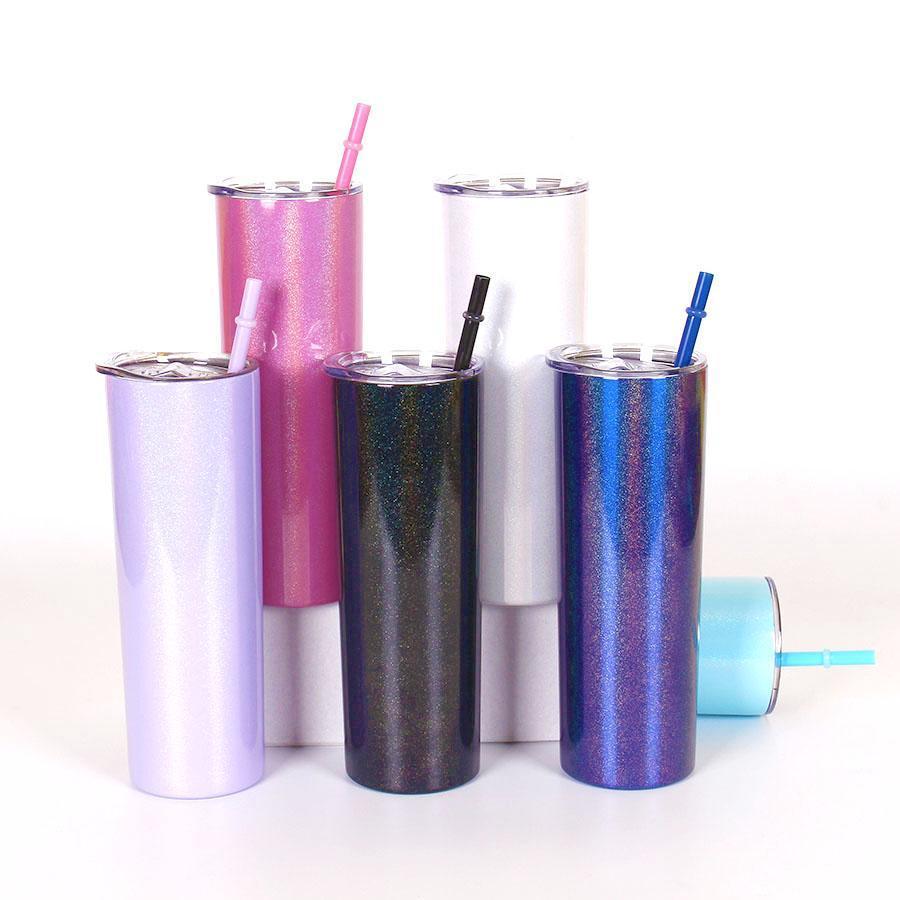 20 oz brillo glacny vaso con tapa de acero inoxidable brillante botellas delgadas de doble capa vacío aislado arco iris tazas rectas