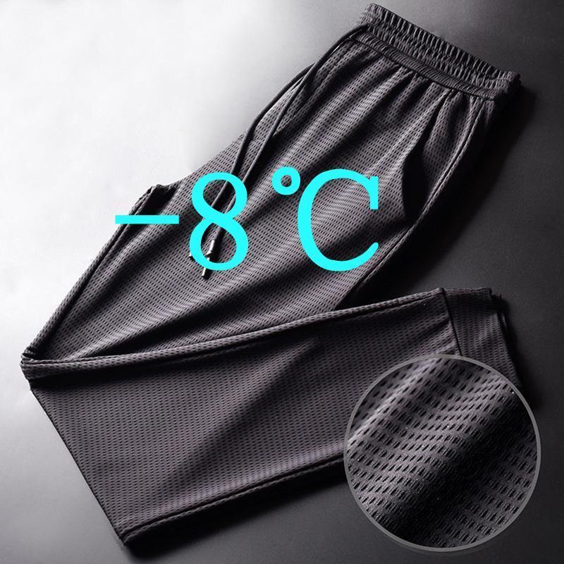 Pantaloni da uomo 2021 Asciugatura rapida Ice Seta traspirante Nine-Point Estate sottile in esecuzione fitness Fitness Fitness Mesh Aria condizionata Pantaloni
