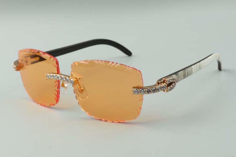 2021 designers sunglasses 3524023 XL diamonds cuts lens natural hybrid buffalo horn temples glasses, size: 58-18-140mm