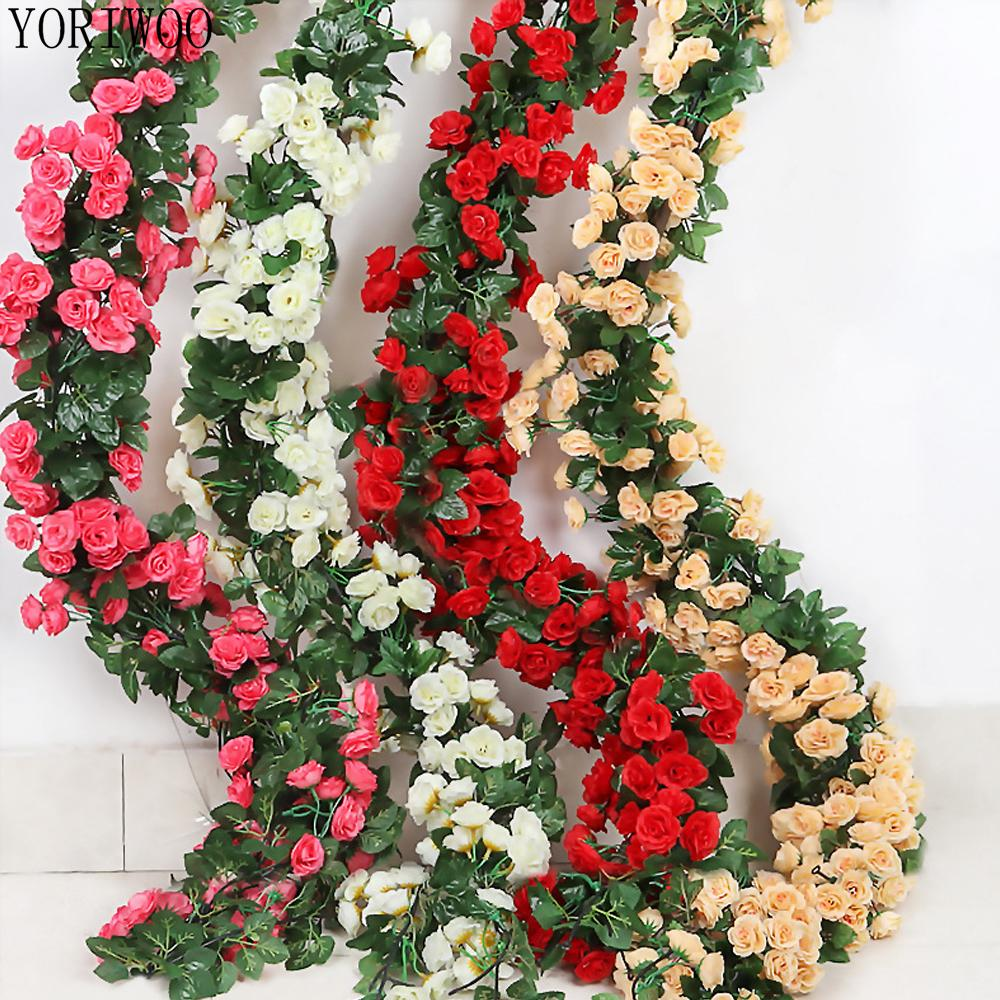 2.3M Roses Artificial Flowers For Decoration Home String Fake Flowers Vine Romantic Wedding Favors Wall Hanging Garland