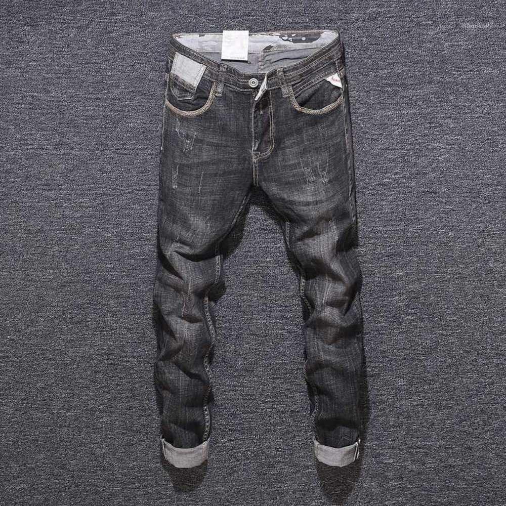 Newly Designer Fashion Men Jeans Black Gray Color Slim Fit Italian Vintage Jeans Men Denim Pants Elastic Hip Hop Homme1