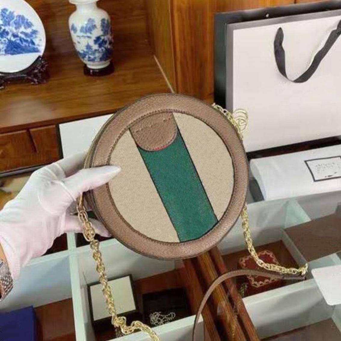 Runde Tasche Double G Brief Vintage Frauen Kette Kreisförmige Form Kleine Dame Mode Crossbody