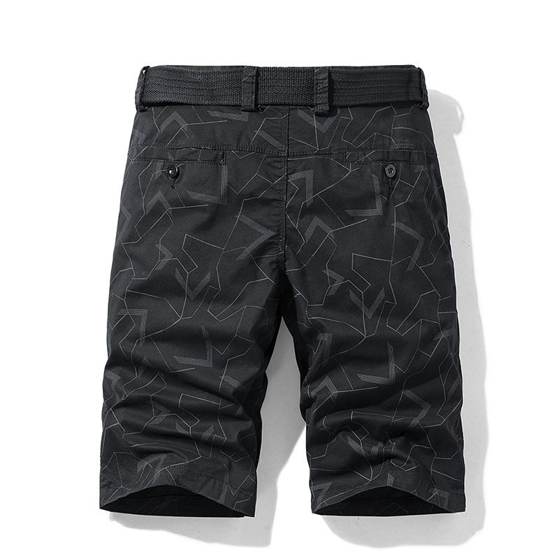 2021 Verão Novos Homens de Camuflagem Camuflagem Zipper Casual Bolso Regular Cinzas de Cinco Ponto Carga Militar Plus Size Shorts
