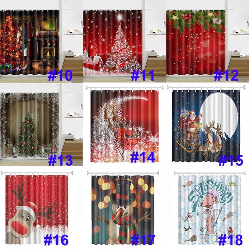 180 * 180 cm Christmas chuveiro cortina Santa Claus Boneco de neve impermeável banheiro chuveiro cortina de chuveiro com ganchos 21 Design OOD4656