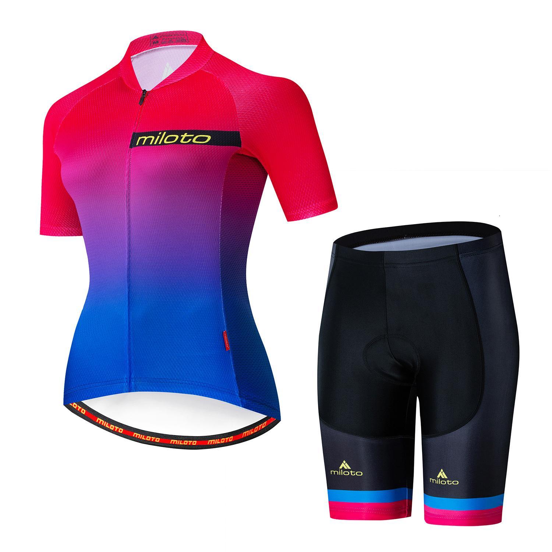 2021 المرأة فريق ميلوتو الدراجات الفانيلة الدراجة ارتداء الملابس سريعة الجافة مريلة جل مجموعات الملابس روبا ciclismo زي مايلوت الرياضة ارتداء