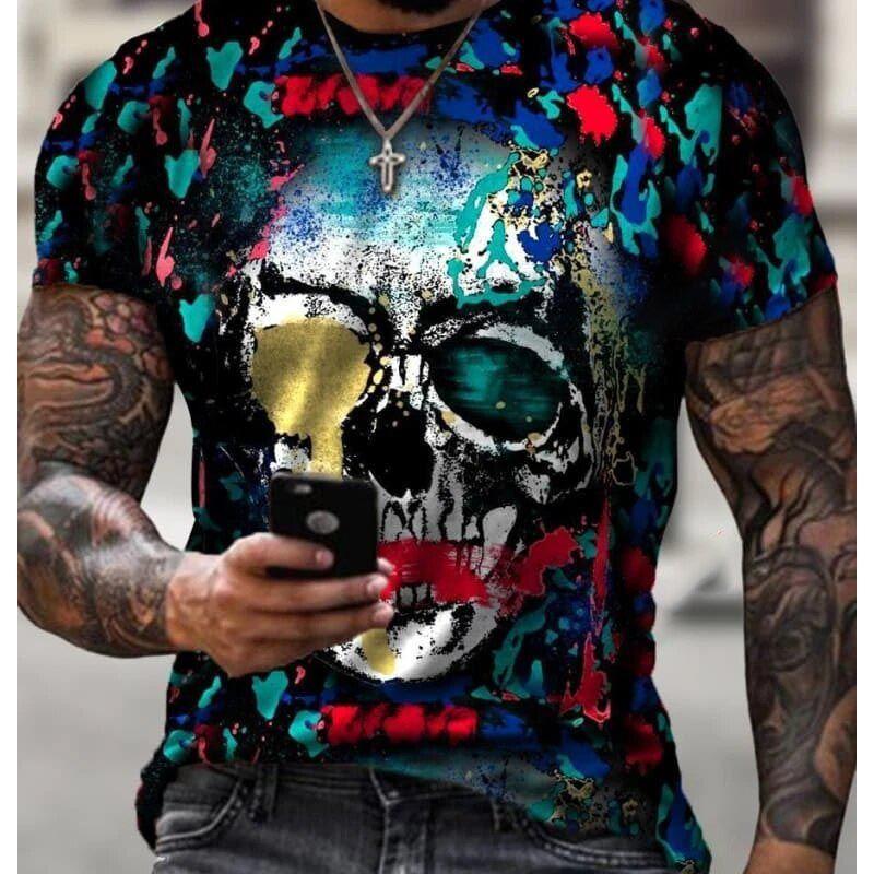 Mens Hiphop T Shirt Gráfico Estilo Escuro Meninos Tee com Crânios Padrão Masculino 3D Digitas Streetwear Roupas Top Tees 10 estilos Atacado