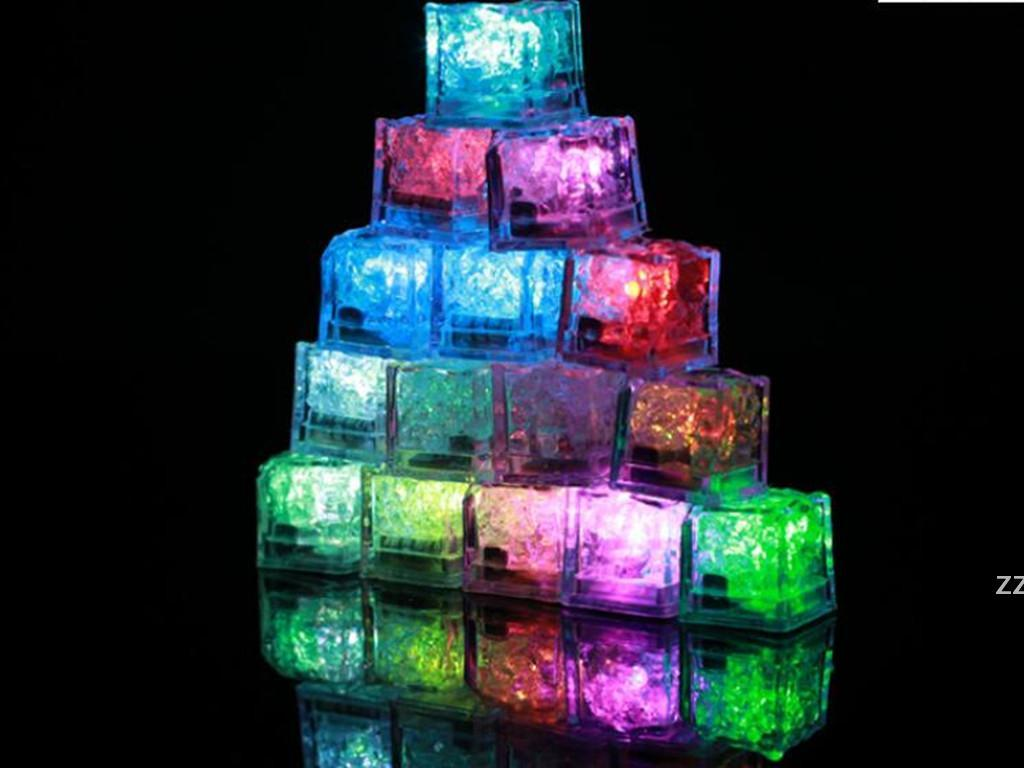 LED 아이스 큐브 바 플래시 자동 변화 크리스탈 큐브 물 - 활성화 된 조명 7 색 낭만적 인 파티 웨딩 크리스마스 선물 HWD10242