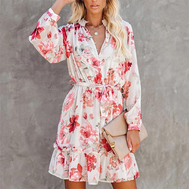 Casual Dresses 2021 Autumn Feminine Print Elegant Dress Female Stand-up Collar Button Long-sleeved Mid-waist Stitching Ruffled