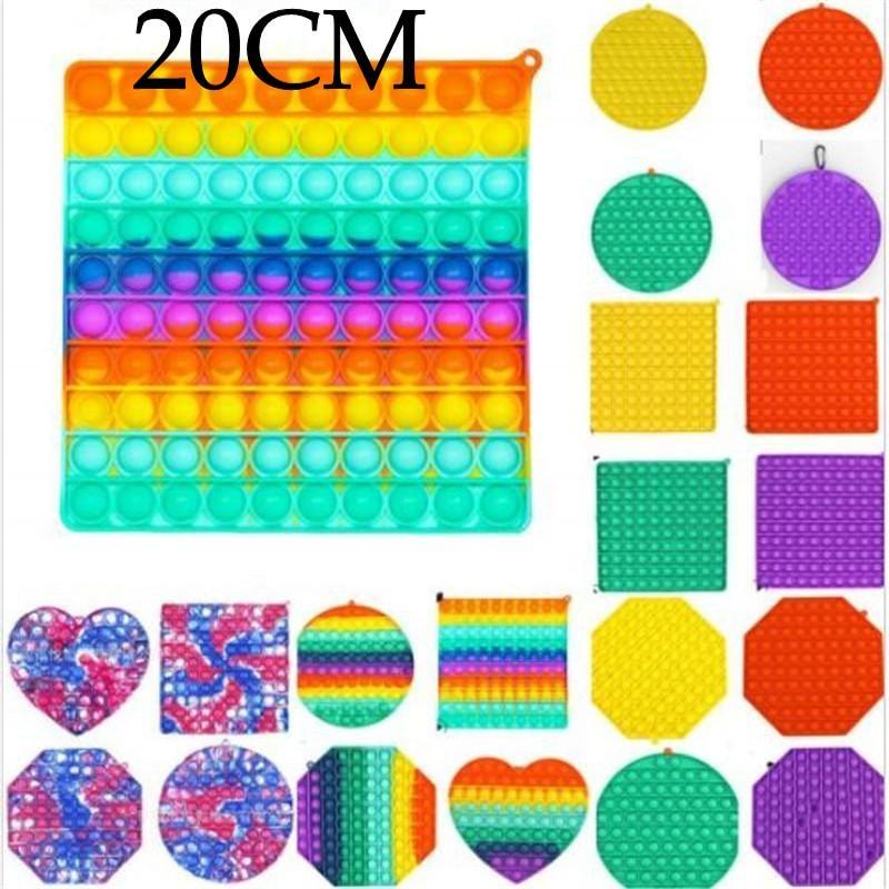 20 cm Jumbo Fidget Bubble Board Toys Sensory Toys Tie Tiny Rainbow Push Bubble Puzzle con moschettone Semplice Key Ring Finger Game