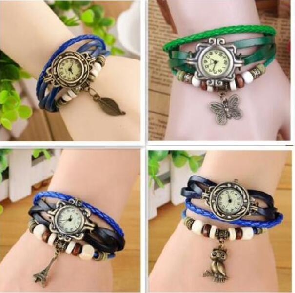 Fashion Weave Rope Leather Wristwatch charm Bracelet Retro Vintage mix leaf butterfly owl wing heart Pendant Wrap Quartz Women watch