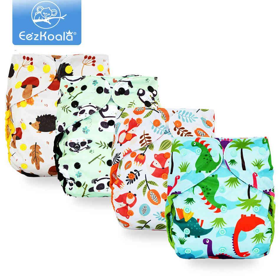 EEZKOALA Big XL Größe Tuch Windelabdeckung Waschbare Baby Wiederverwendbare echte Tuch Tasche Windel Windel Cover Wrap Winda 210320