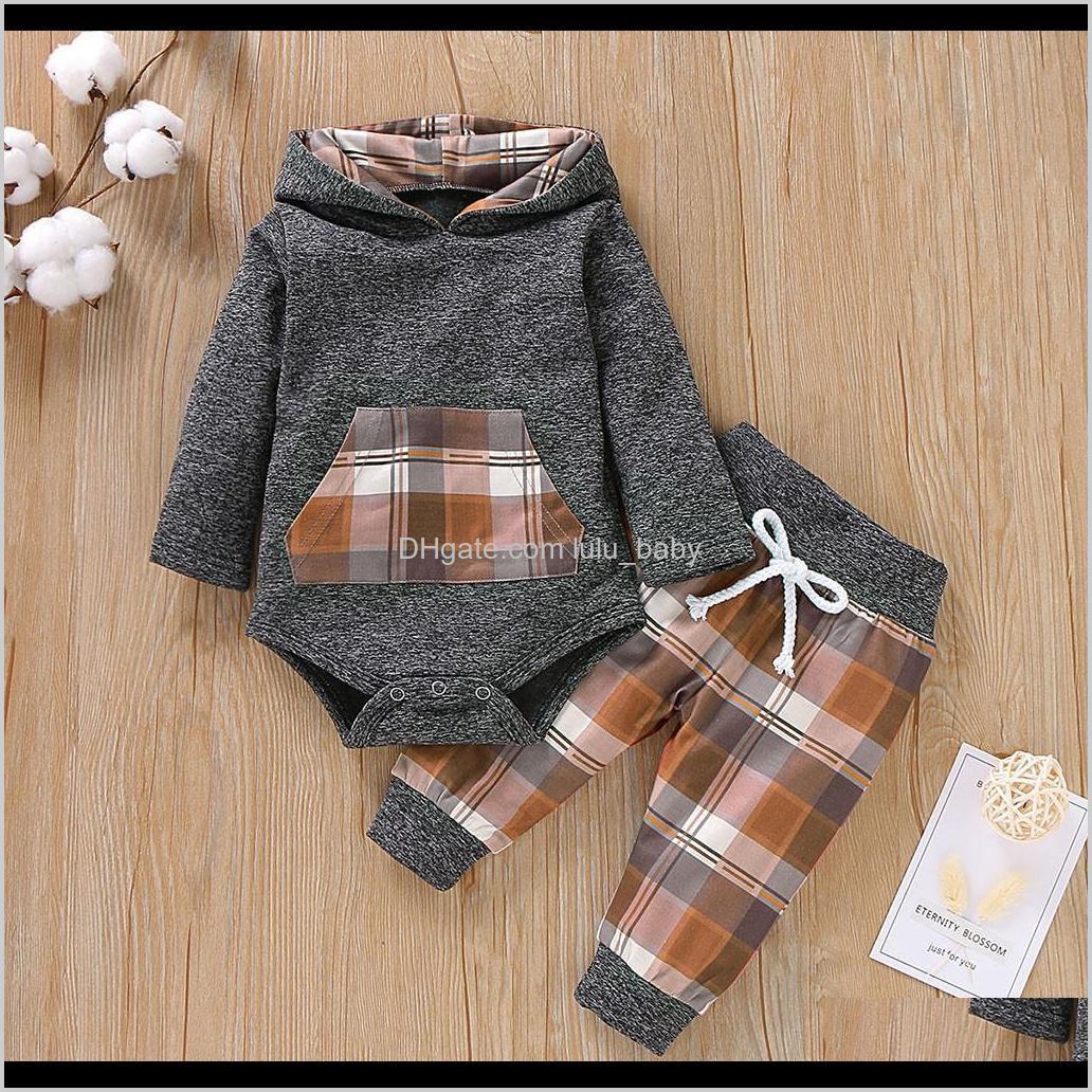 Infant Boys Girls Children Kids Baby Set Plaid Hooded Pullover Romper Bodysuit Pants Boutique Outfits Tracksuit Veq3B Clothing Sets Fwkaf