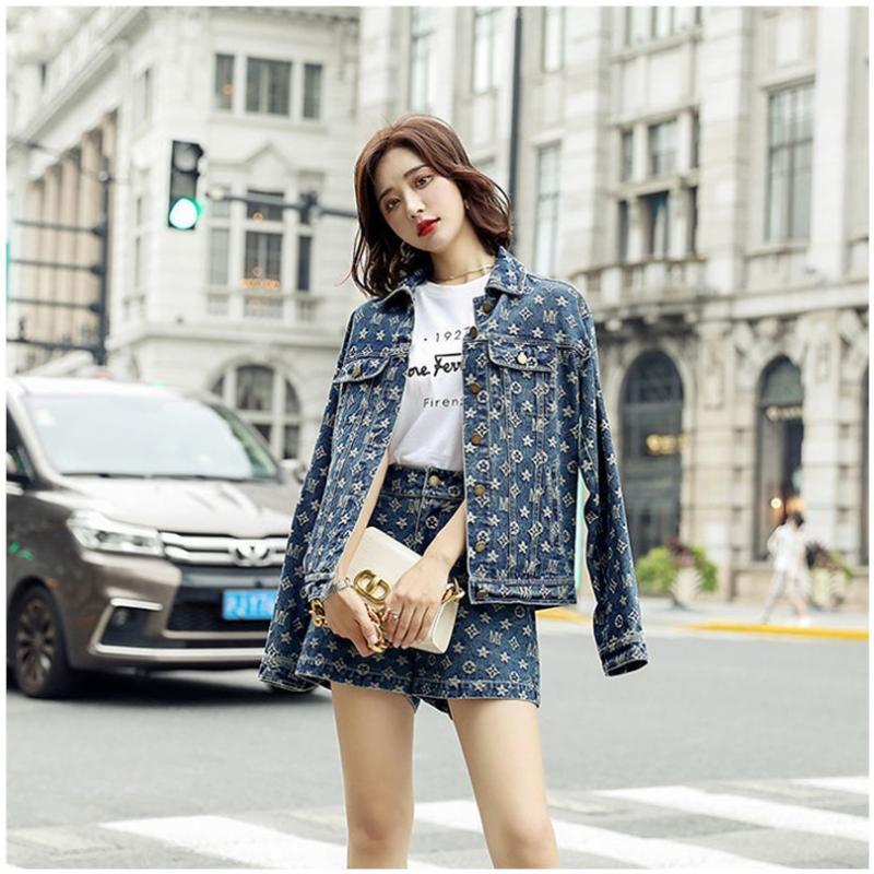 Printemps petit parfum style dames tempérament coréen veste en denim mode western shorts de deux pièces costume femme robe deux pièces