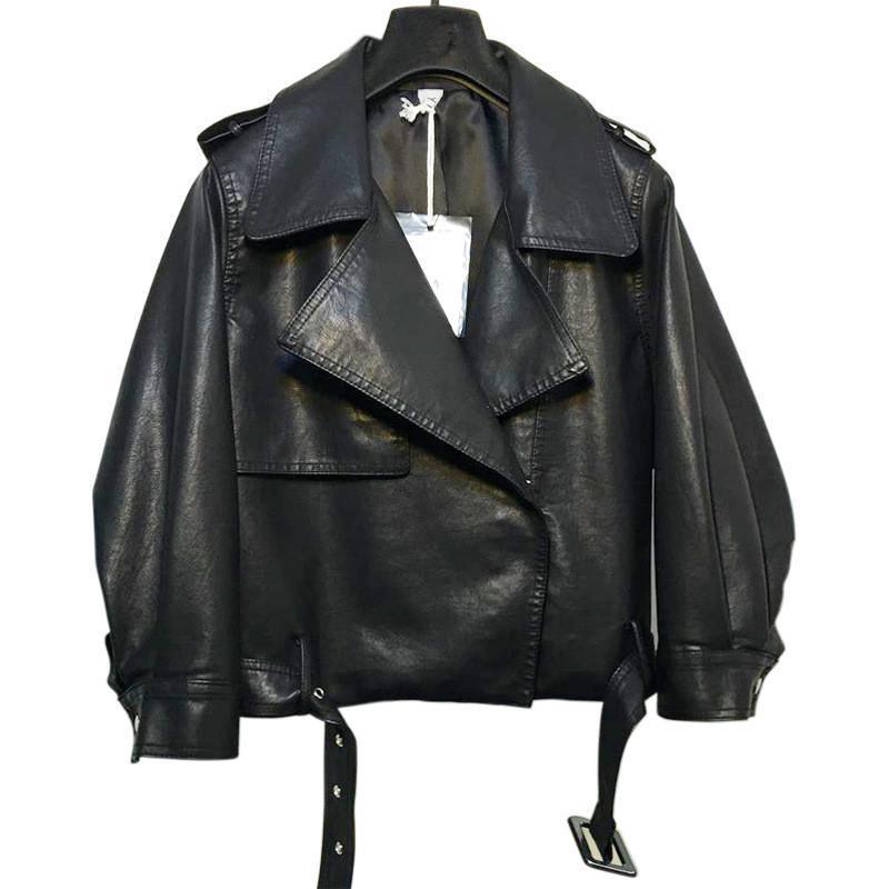 Мотоциклетная куртка Свободные искусственные кожаные пальто 2021 осень и зимняя мода короткий бомбардировщик PU женские куртки