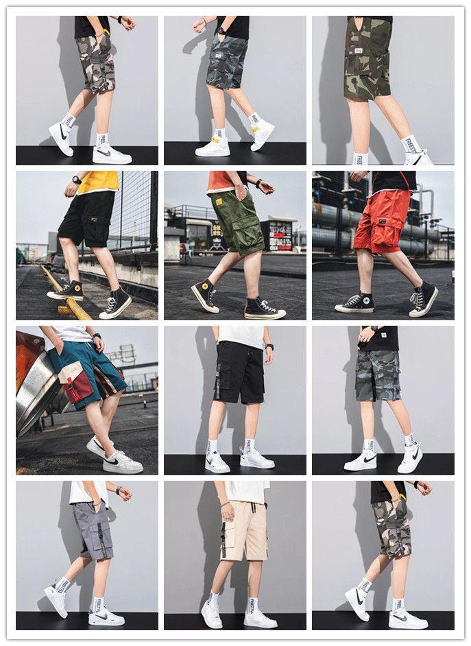 2021 shorts casuais masculinos, ferramenta de camuflagem esportiva, tendência solta na Europa e shorts de shortslarge da Amerda