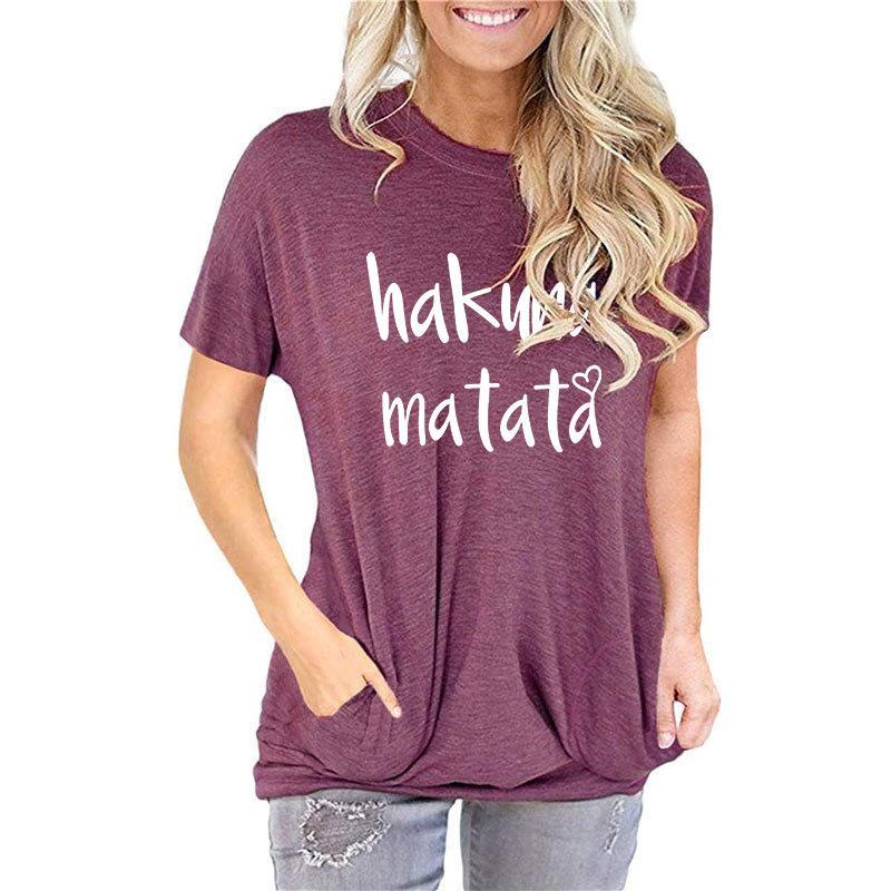 Designer di lusso Maglione Popolare Donna Pocket Felpa da taschino Hakuna Matata Lettera Stampa Scelta T-shirt a manica corta
