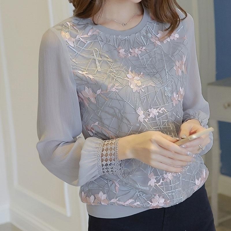 Женщины с длинным рукавом рубашка женщины новая цветочная вышивка o шеи кружева шифоновые блузки blusa дамы повседневная рубашка топы df2289 210317