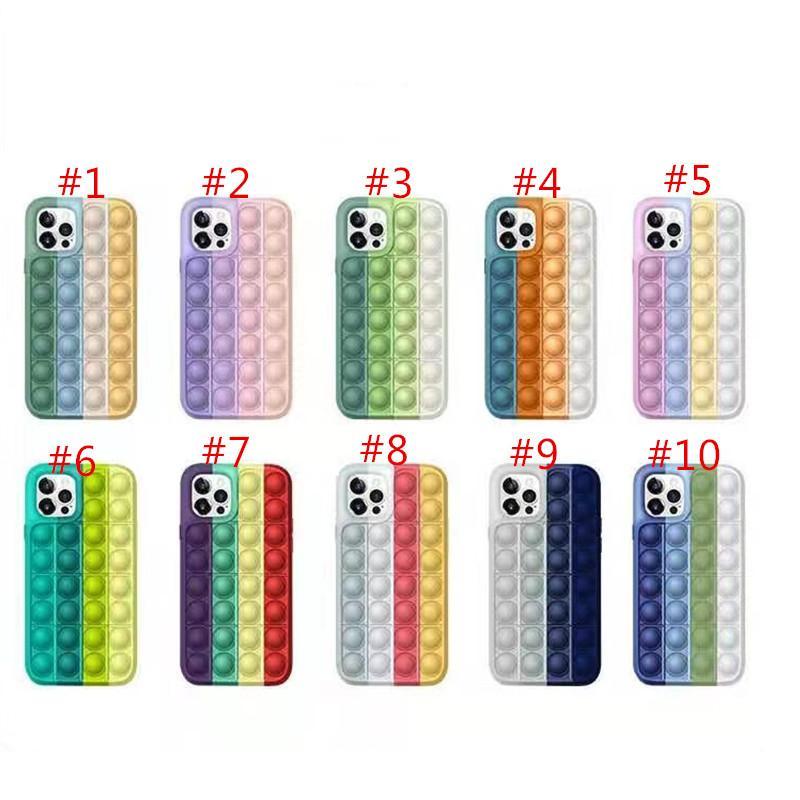 Pop It It Fidget Case Decompressione Telefono in silicone Casi per iPhone 12 11 Pro XS Max XR 7 8 Plus Huawei Mate30 Mate40 P40