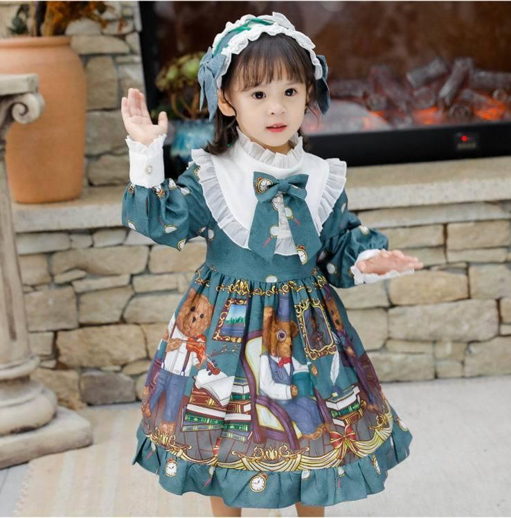 Lolita menina vestido 2020 novo estilo adorável urso manga comprida princesa vestido com headband kid roupas e20264