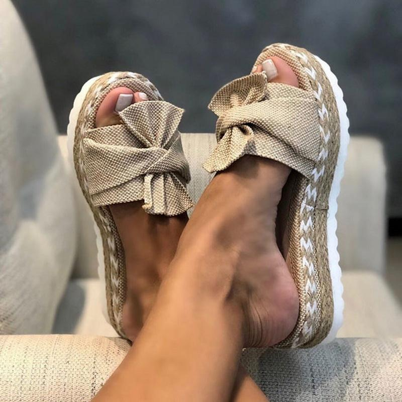 Women Bowknot Sandals 2021 Summer Cute Casual Daily Comfy Slip On Platform Ladies Party Peep Toe Female Slippers