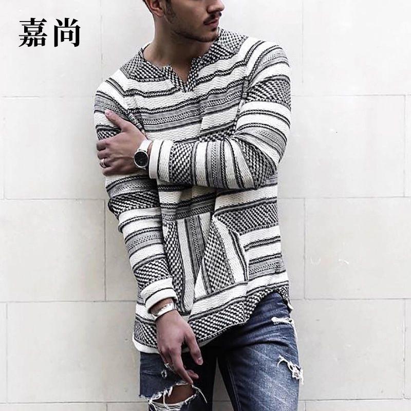 Rua do outono dos homens Solta simples casual com decote em v manga longa T-shirt listrada para homens