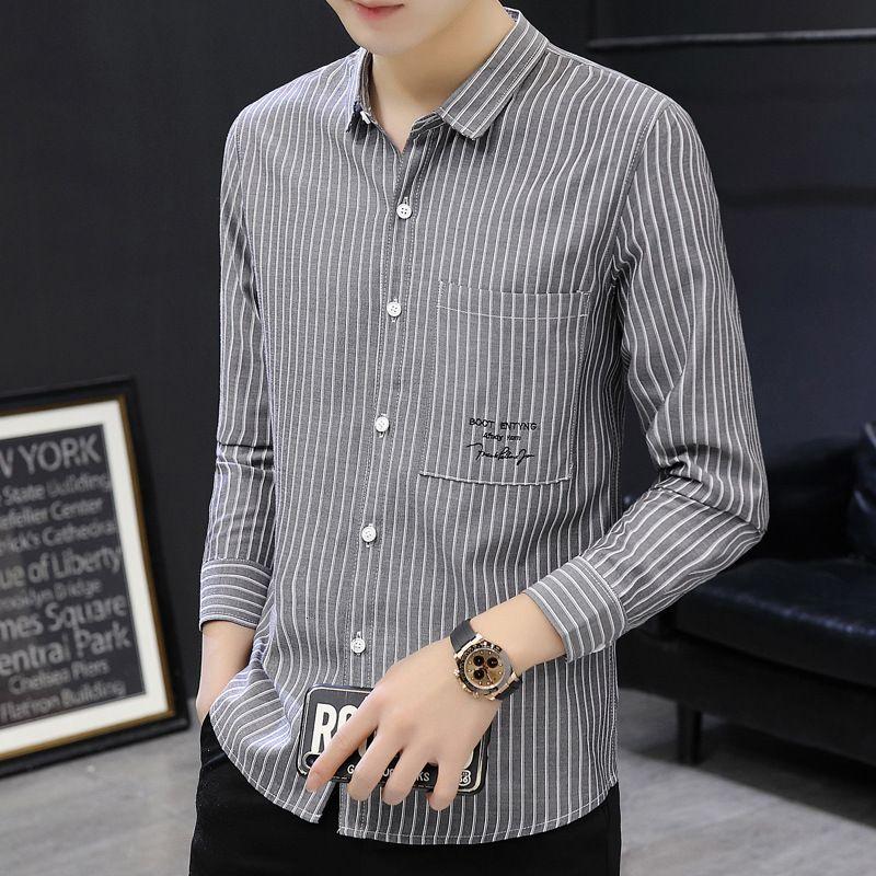 Camisa para hombre Spring de manga larga Stripe Slim Wear Business Casual Top Trendy