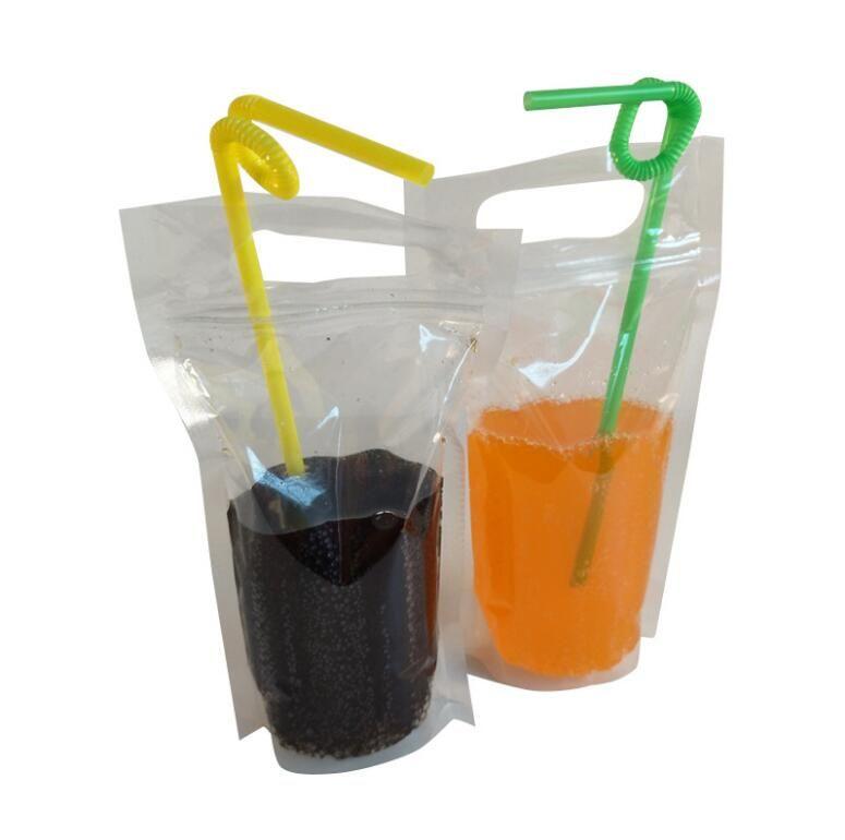 Bolsas de bebidas claras bolsas com zíper fosco Bolsa de beber plástico com palha com titular com base de calor reclosable 250ml