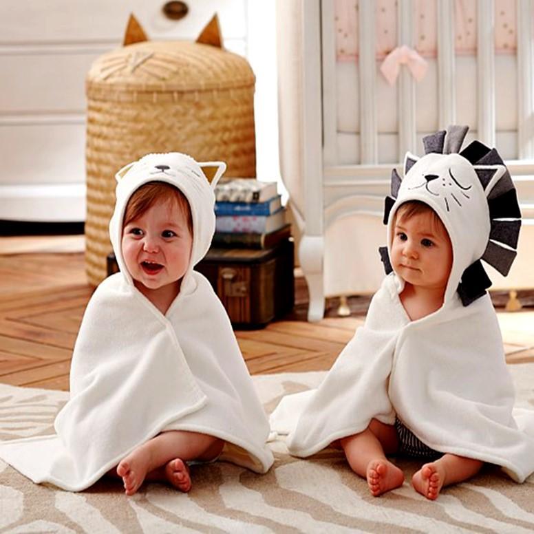 아기 목욕 수건 100 % 코 튼 후드 베이비 타월 원피스 솔리드 라이온 어린이 담요 유아용 물건 고양이 코끼리 토끼 상어 5 스타일