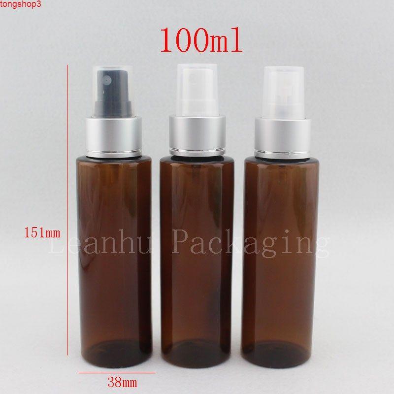 100 мл х 50 серебряный алюминиевый воротник распылитель насосных бутылок контейнеров, 100cc пустая коричневая пластиковая бутылка для косметической упаковки
